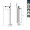 Напольный смеситель для ванны с душевым комплектом KUATRO 478502MK - фото №3
