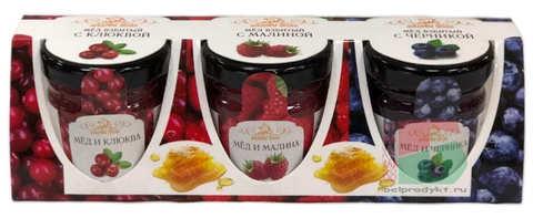 Мед взбитый Сувенирный набор №2 с ягодами 3шт. по 50г. Мядовы шлях