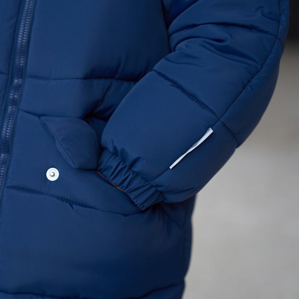 Дитяча подовжена зимова куртка в синьому кольорі для дівчинки