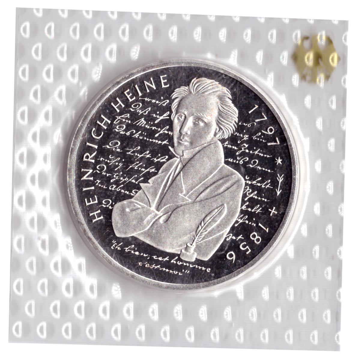 10 марок 1997 год (G) 200 лет со дня рождения Генриха Гейне, Германия. PROOF в родной запайке