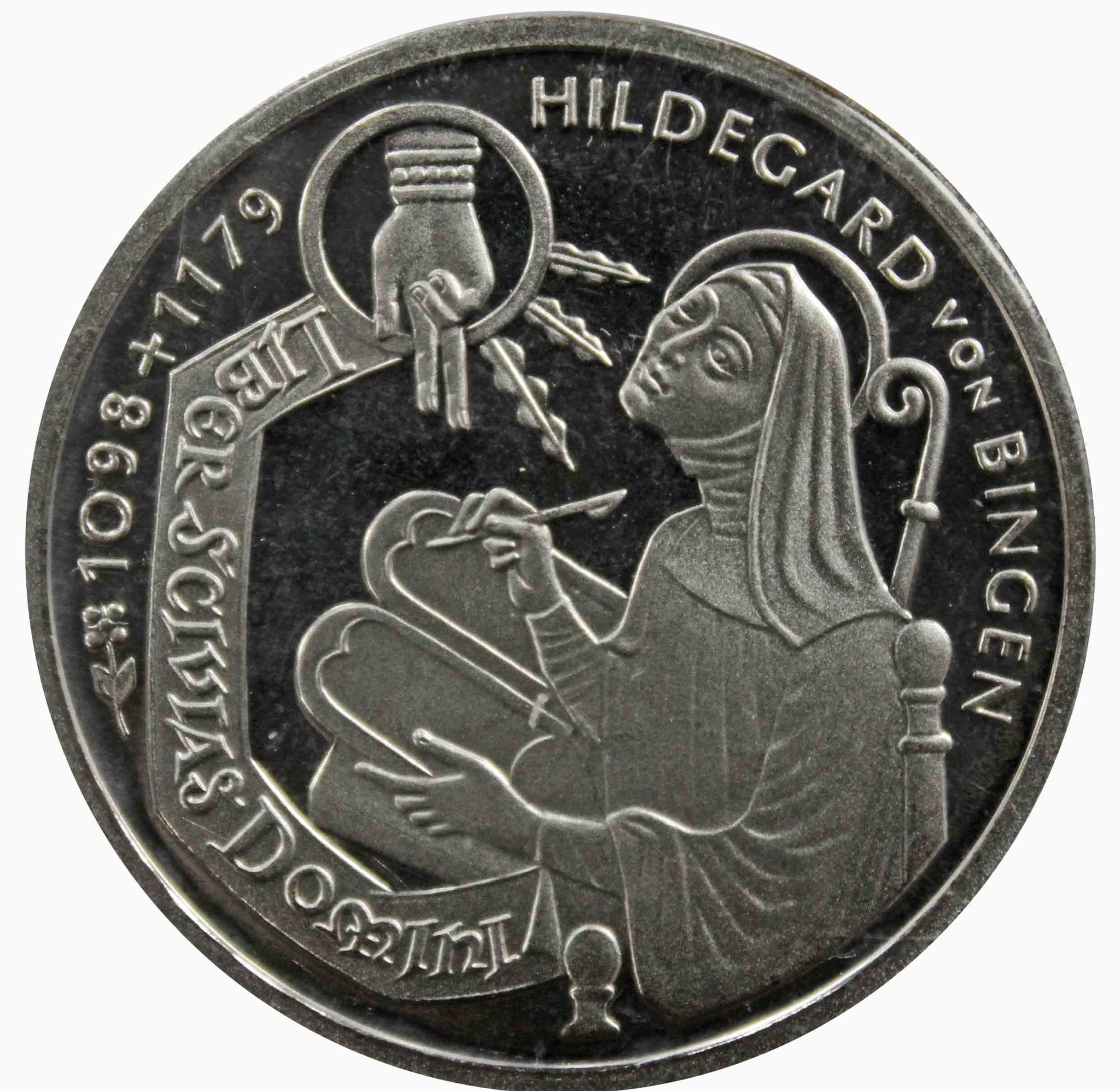 10 марок. 900 лет со дня рождения Хильдегард из Бингена (G) Серебро. 1998 г. PROOF. В родной запайке