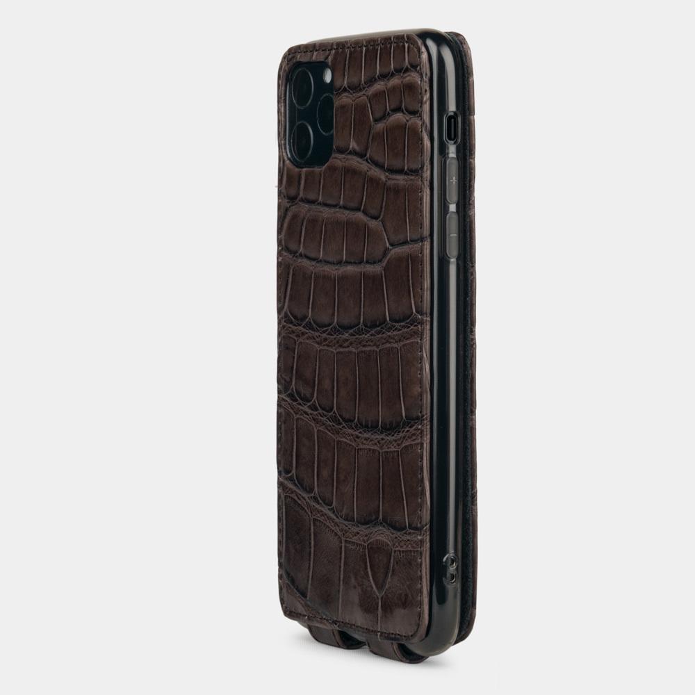 Special order: Чехол для iPhone 11 Pro Max из натуральной кожи крокодила, темно-коричневого цвета