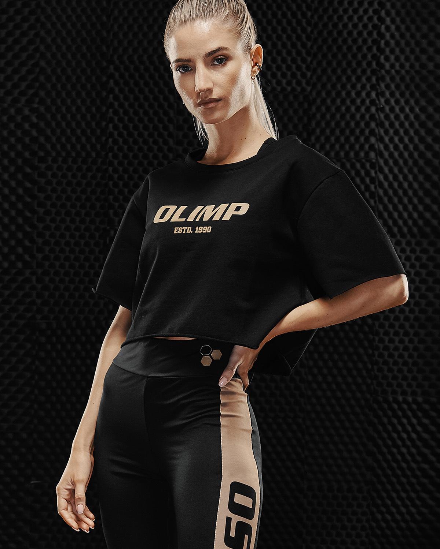 Женская укороченная футболка Olimp Crop Top Gold Series Black