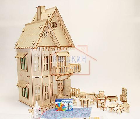 Кукольный домик, 3-этажный с мебелью для гостиной, ванной и кухней