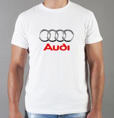 Футболка с принтом Ауди (Audi) белая 001