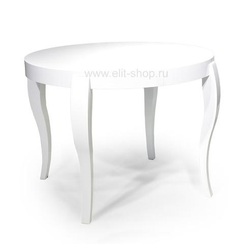 Стол ЭЛИС 100-Ш Белый глянец / 100(158)х100см