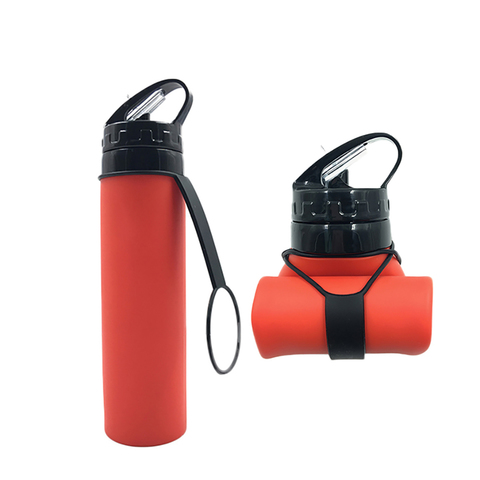 Бутылка силиконовая скручивающаяся 600 мл красная
