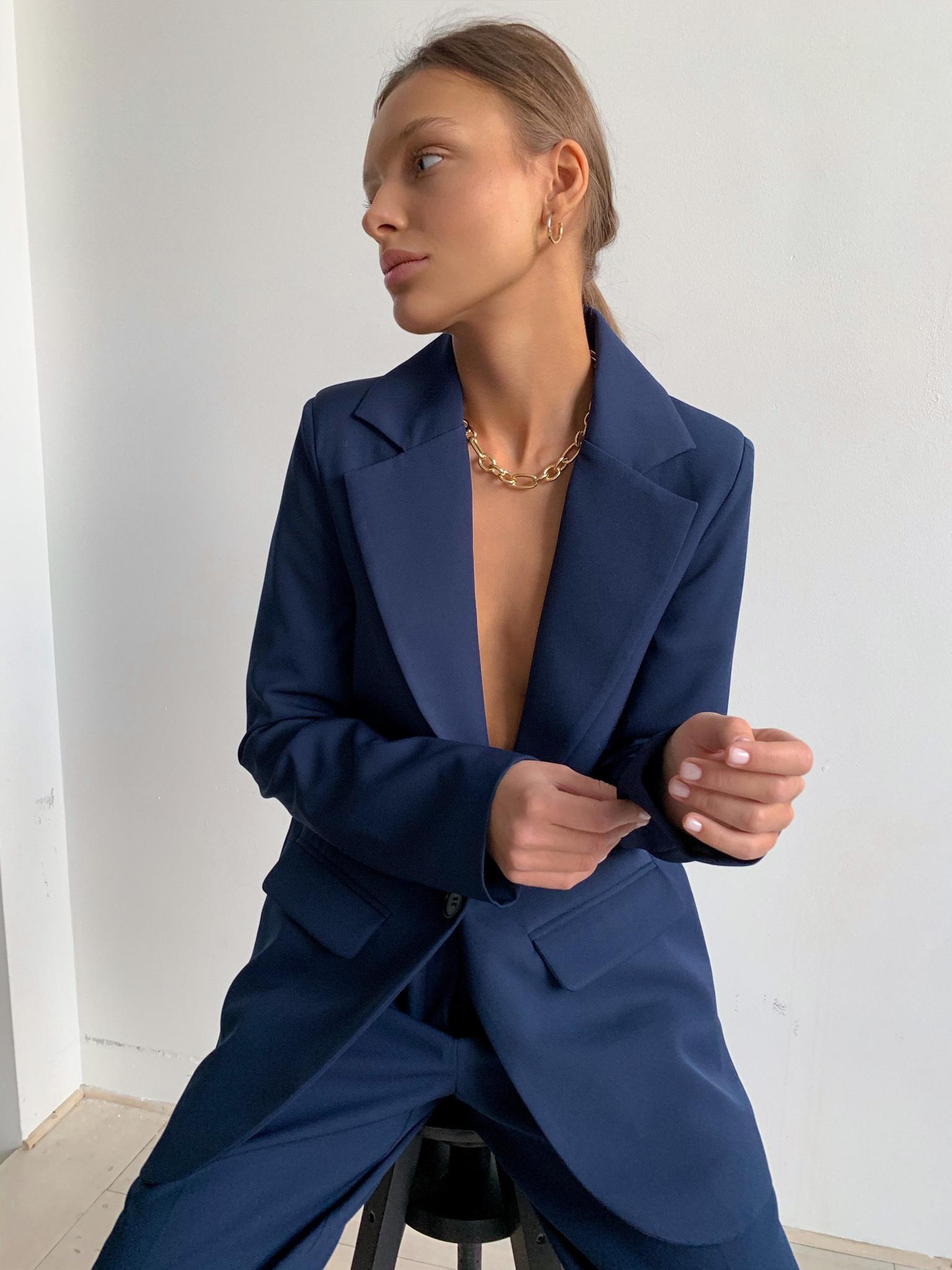 Пиджак прямой однобортный со шлицей (темно-синий)