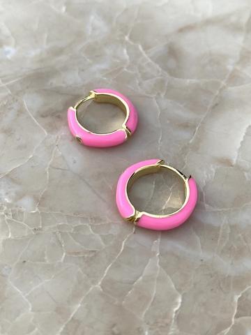Серьги конго из позолоченного серебра с розовой эмалью