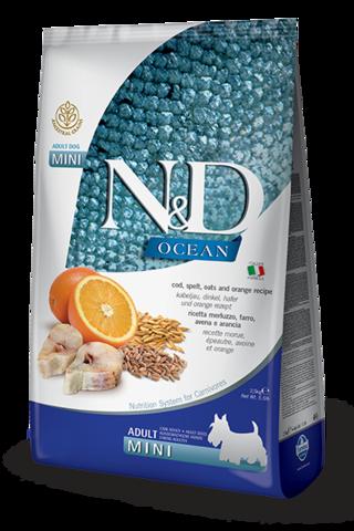 Сухой корм Farmina N&D OCEAN COD, SPELT, OATS & ORANGE ADULT MINI для взрослых собак маленьких пород