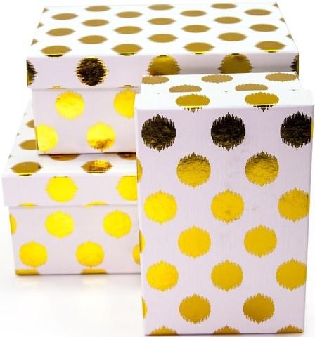 Коробка Золотые точки, Белый, 23*16*10 см