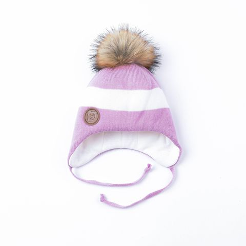 Winter hat with ties and fur pompon - Violet