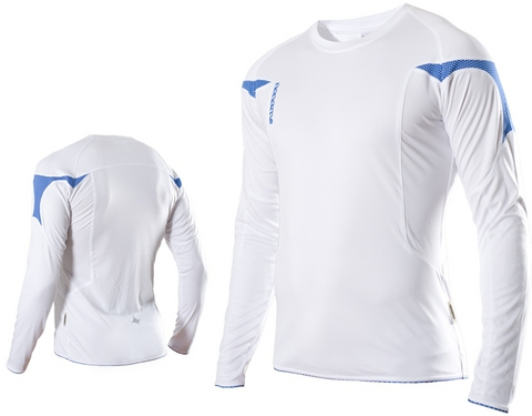 Футболка Noname Running Top Long Sleeve 2010, белый-синий
