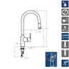 Смеситель для кухни с выдвижной лейкой ATICA 757901V2 - фото №2