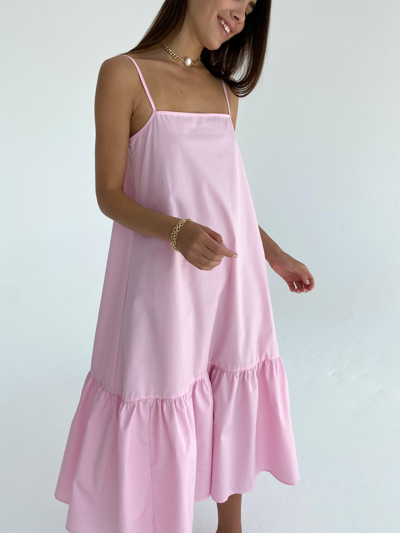 Платье-трапеция из хлопка (розовый)