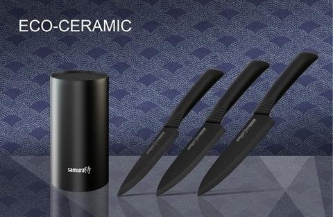 Набор из 3-х кухонных ножей из чёрной керамики Samura Eco-Ceramic с подставкой, арт. SKC-004B