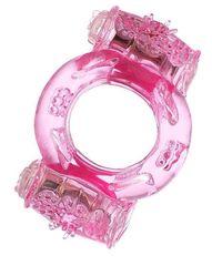 Розовое виброкольцо с двумя батарейками -