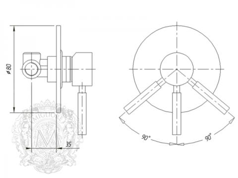 Смеситель для душа встроенный Migliore Fortis ML.FRT-5230 схема