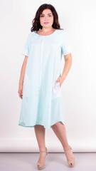Стефания. Нарядное платье больших размеров. Мята+белый.
