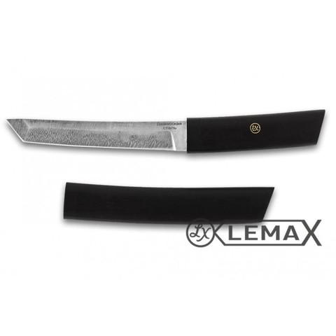 Нож Танто, дамаск, черный граб