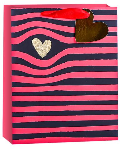 Пакет подарочный, Золотое сердце и полоски, Черный/Красный, с блестками, 32*26*12 см