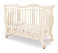 Кровать детская Габриэлла колесо-качалка,ящик слоновая кость