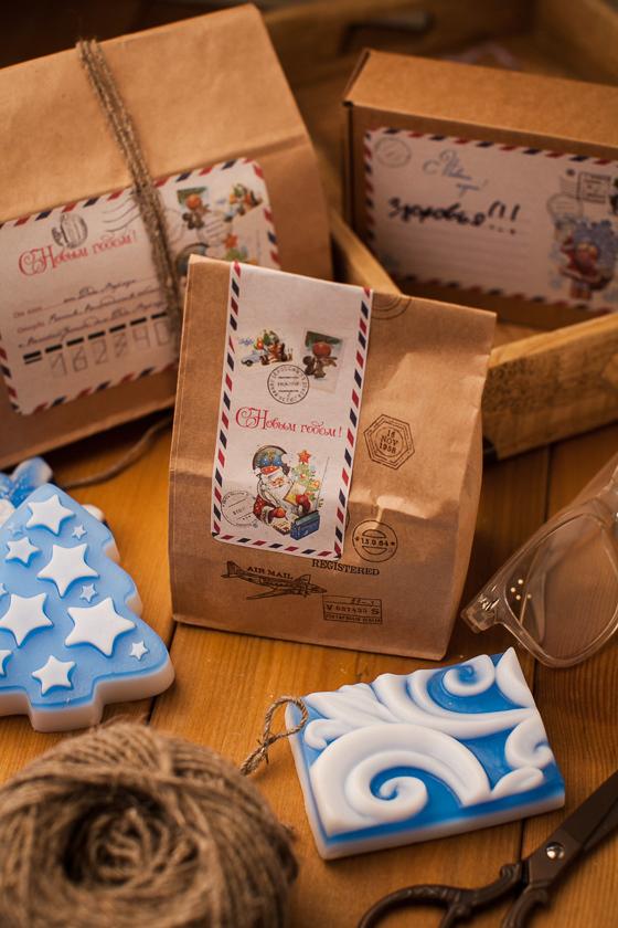 Крафт-пакет для мыла с рисунком Почта