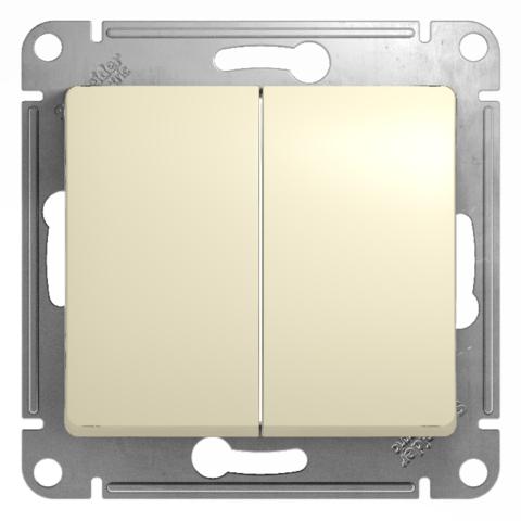 Переключатель двухклавишный, 10АХ. Цвет Бежевый. Schneider Electric Glossa. GSL000265