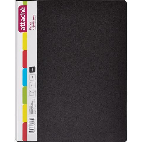 Папка файловая на 10 файлов Attache черная