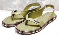 Модные сандалии вьетнамки женские Evromoda 454-411 Olive.