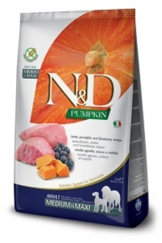 Сухой корм для собак Farmina N&D Pumpkin Adult Medium & Maxi беззерновой с ягненком, черникой и тыквой 12кг
