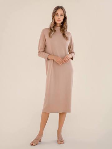 Женское платье цвета нюд из 100% шерсти - фото 2