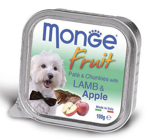 Купить консервы Monge Fruit Lamb & Apple паштет для собак ягненок с яблоком  100г