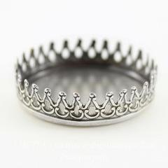 Сеттинг - основа с зубчатым краем для камеи или кабошона 26 мм (оксид серебра)