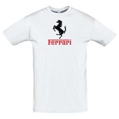 Футболка с принтом Феррари (Ferrari) белая 2