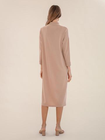 Женское платье цвета нюд из 100% шерсти - фото 4