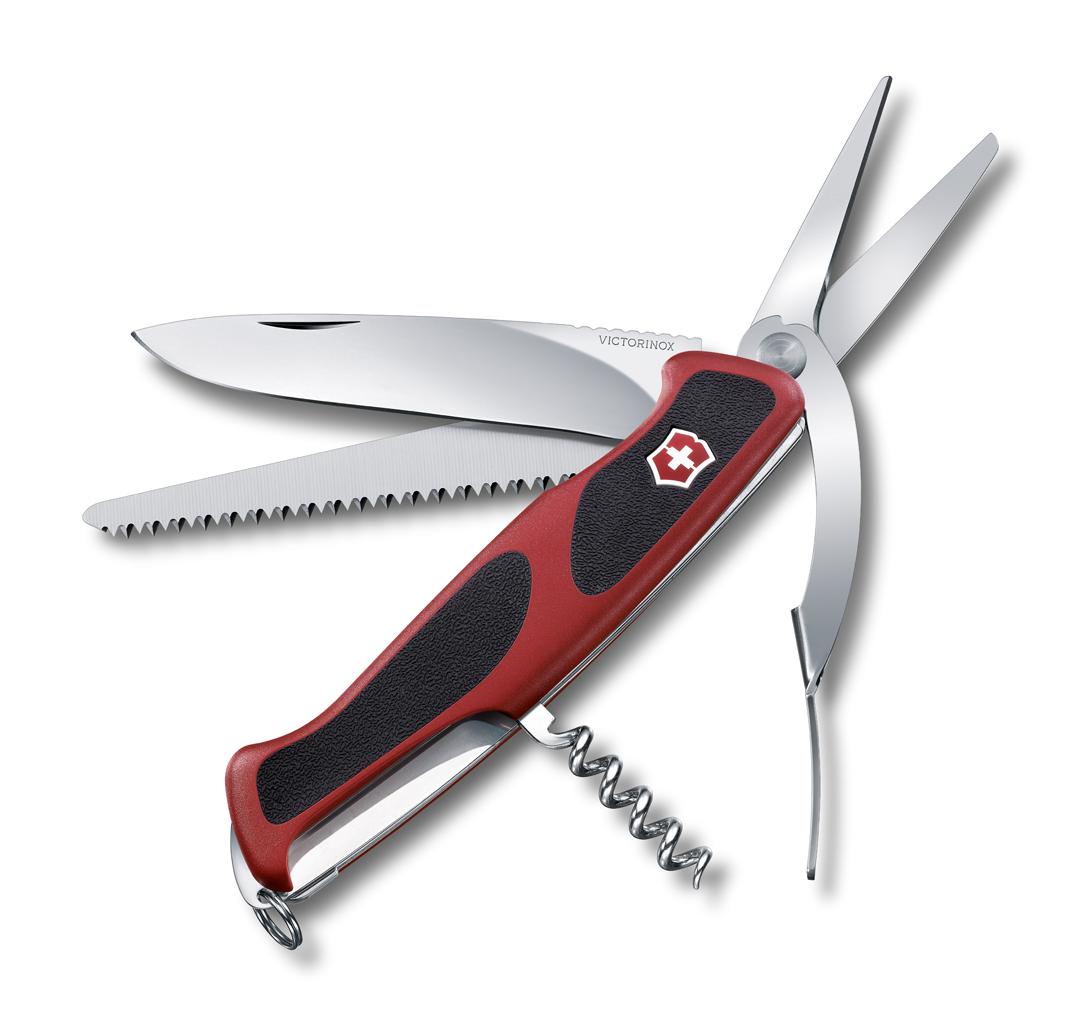 Нож Victorinox RangerGrip 71 Gardener, 130 мм, 7 функций, красный с черным