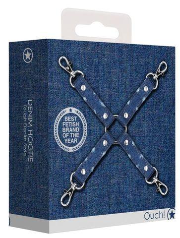 Крестообразный синий фиксатор для оков Roughend Denim Style