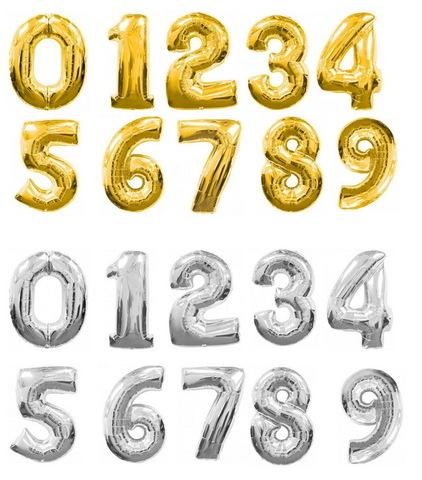 Фольгированный шар цифра + грузик (Н-1м)