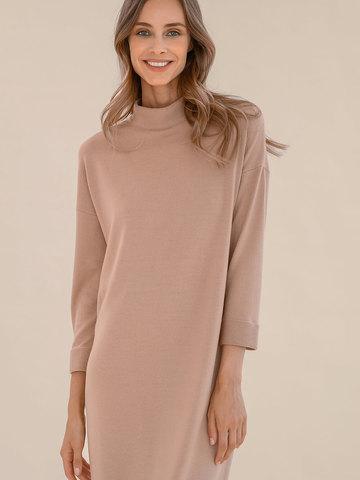 Женское платье цвета нюд из 100% шерсти - фото 3