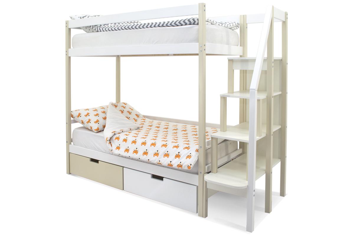 Двухъярусная кровать «Svogen» бежево-белый