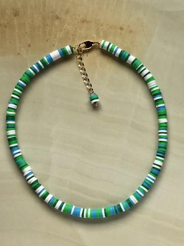 Колье Вулканера, зеленый, белый и голубой каучук