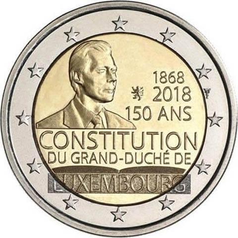 """2 евро 2018 г. """"150 лет конституции Люксембурга"""""""