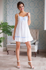 Сорочка белая с голубым