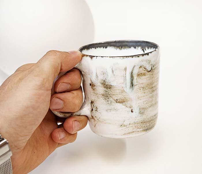 CUP117-1 Керамическая кружка ручной работы, глазурь (200 мл) фото 05