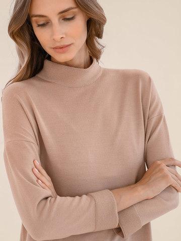 Женское платье цвета нюд из 100% шерсти - фото 5