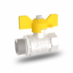 Кран шаровый латунный для газа LD Pride (11б27п) ВхН (гайка-штуцер) бабочка никелированный