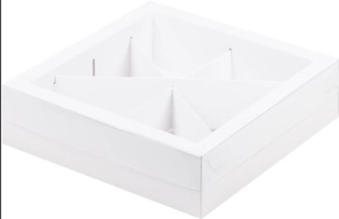 Коробка под ассорти сладостей с пластиковой крышкой, 20*20*5,5см, 4 или 6 ячеек (белая)
