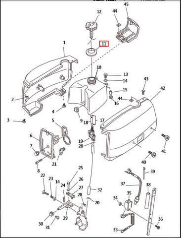 Прокладка бака  для лодочного мотора T2,5 SEA-PRO (1-11)
