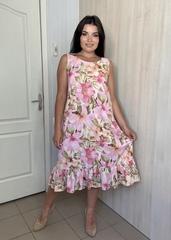 Аріна. Легке плаття з рюшею плюс сайз. Рожеві квіти